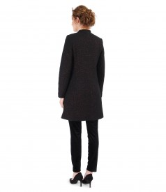 Jacheta din lana cu fir de efect aramiu si pantaloni din catifea elastica