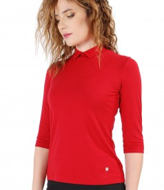 Bluza din jerse elastic uni cu guleras