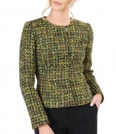 Sacou din bucle multicolor cu lana