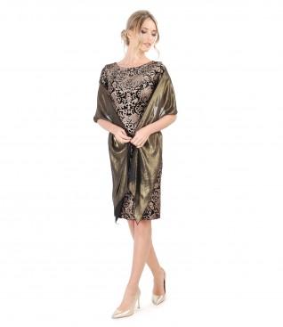 Rochie din catifea imprimata si esarfa din voal sidefat