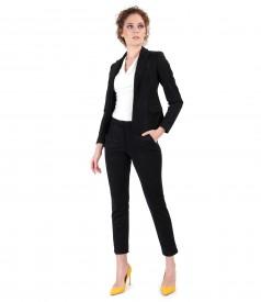 Costum office dama cu sacou si pantaloni din stofa cu aspect catifelat