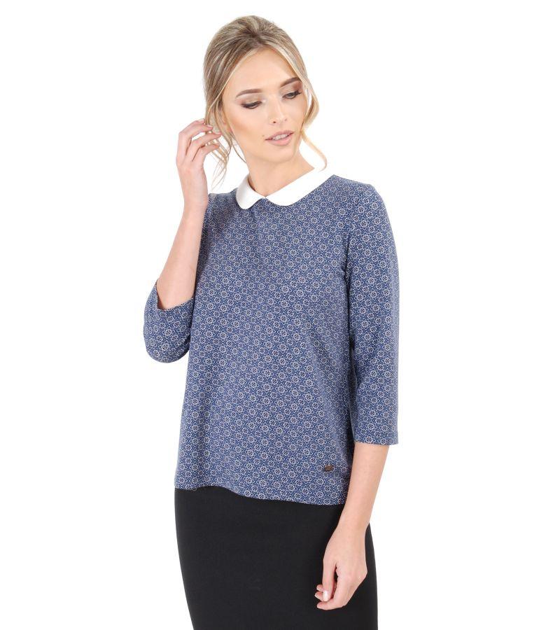 Bluza din jerse elastic gros cu guleras alb