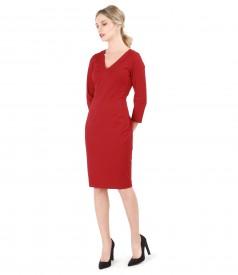 Rochie din jerse elastic gros cu decolteu in V