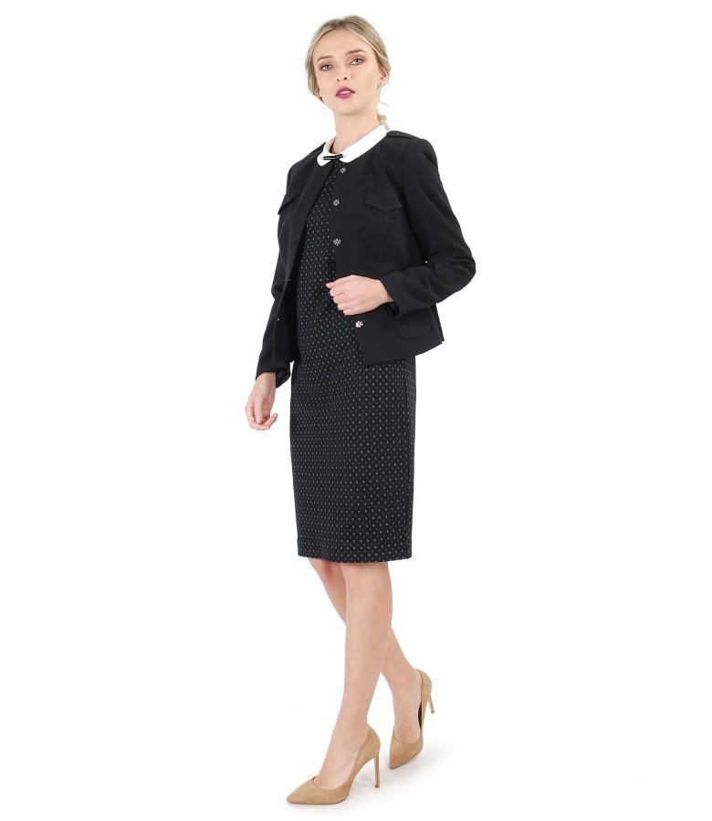 Tinuta office cu sacou din stofa elastic si rochie cu guler rotund