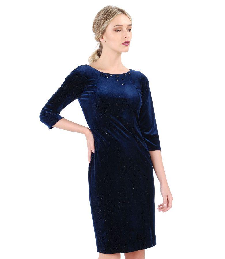 Rochie bleumarin din catifea elastica stralucitoare si aplicatie de cristale Swarovski