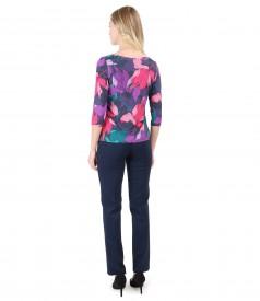 Bluza din jerse imprimat cu motive florale si pantaloni din jerse gros