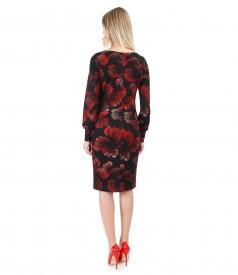 Rochie cu maneci lungi imprimata cu motive florale