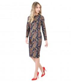 Rochie cu maneci lungi din jerse elastic
