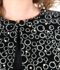 Bolero din catifea neagra cu perle
