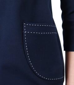 Rochie din jerse elastic gros cu buzunare aplicate