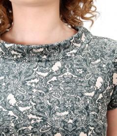 Rochie din catifea imprimata cu motive florale