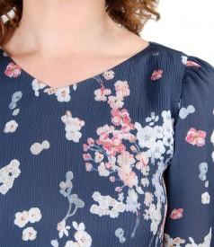 Rochie evazata din voal cu imprimeu floral si garnitura