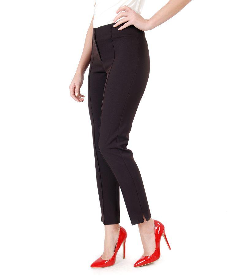 Pantaloni office din stofa texturata cu dunga cusuta
