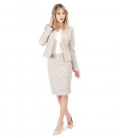 Costum dama office cu fusta si sacou din bucle cu franjuri