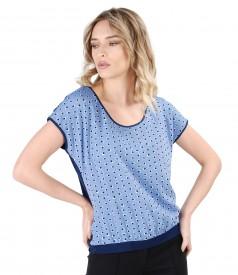 Bluza cu fata din vascoza imprimata cu buline