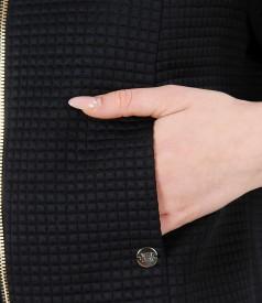 Bolero din brocart elastic cu motive geometrice