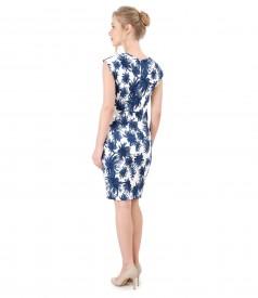 Rochie din brocart elastic imprimat cu motive florale