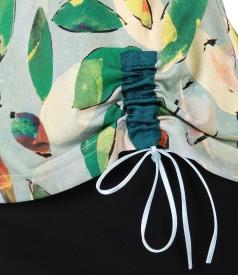 Bluza din jerse elastic cu snur in partea de jos