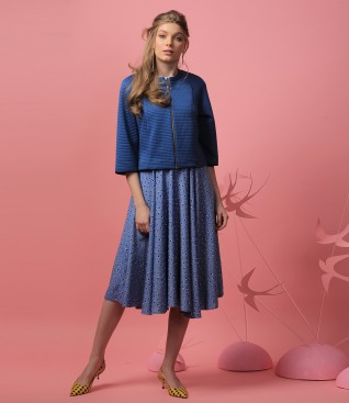 Rochie din vascoza cu bolero din brocart elastic