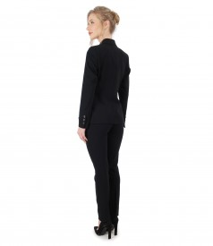 Sacou si pantaloni din stofa elastica neagra