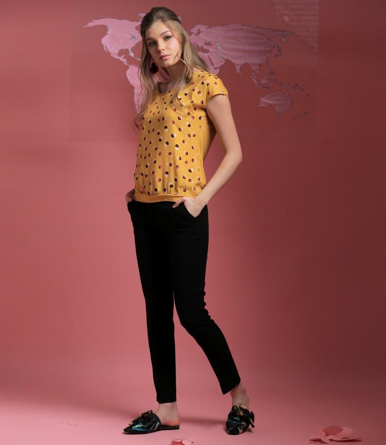 Bluza cu fata din vazcoza imprimata si pantaloni pana