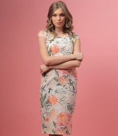 Rochie din bumbac brocat cu motive florale
