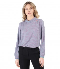 Bluza din vscoza cu maneci lungi si guler rotund