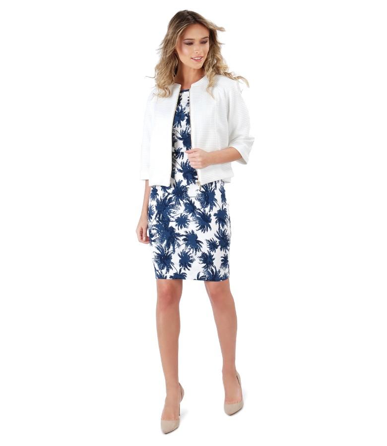 Bolero din brocart elastic cu rochie imprimata cu motive florale
