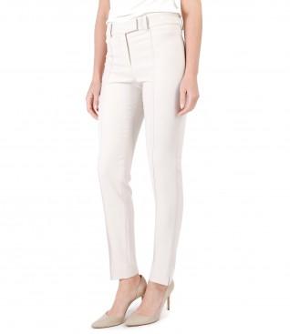 Pantaloni office din stofa elastica cu dunga cusuta pe fata