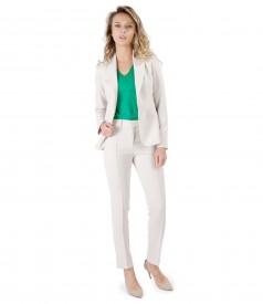 Costum dama office cu sacou si pantaloni pana din stofa elastica bej