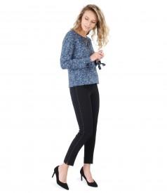 Pantaloni pana cu cusatura decorativa si bluza din vascoza imprimata