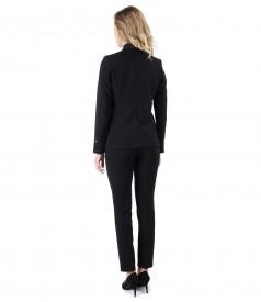 Costum dama office cu pantaloni si sacou din stofa elastica neagra