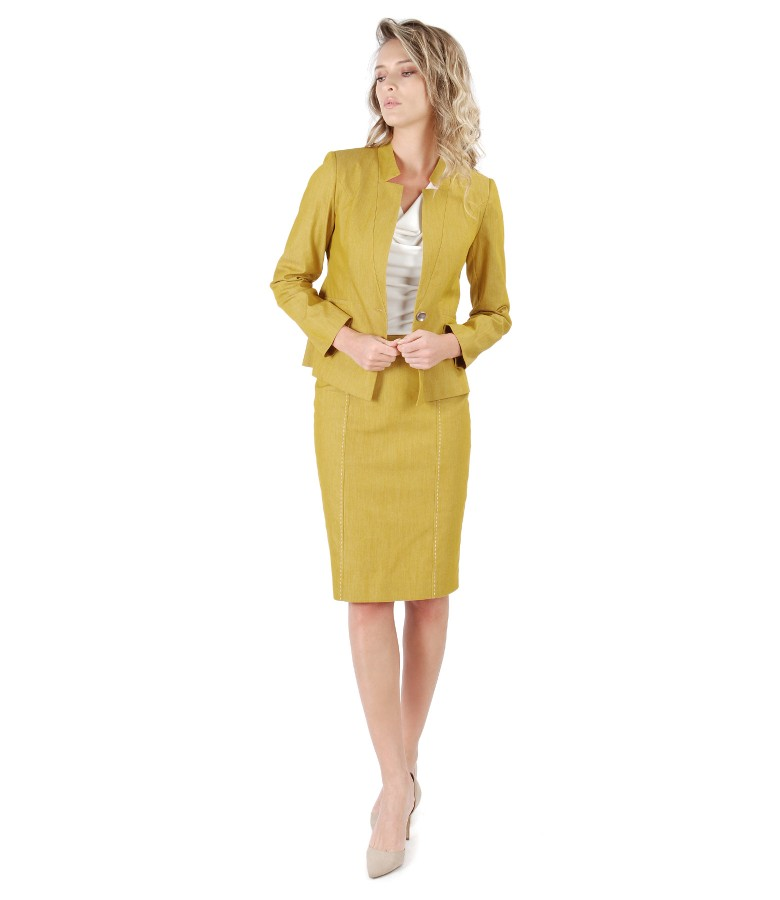 Costum dama office cu sacou si fusta din denim cu cusatura decorativa