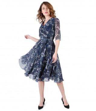 Rochie eleganta din voal imprimat