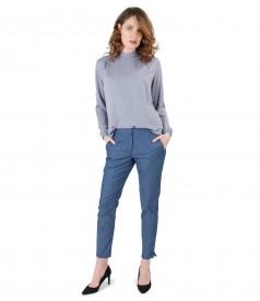 Tinuta eleganta cu pantaloni din bumbac tip denim si bluza cu guler rotund