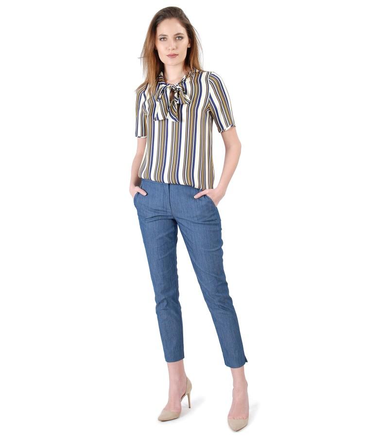 Pantaloni din bumbac tip denim si bluza din viscoza in dungi