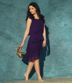 Rochie eleganta cu volane din voal si aplicatie de perle