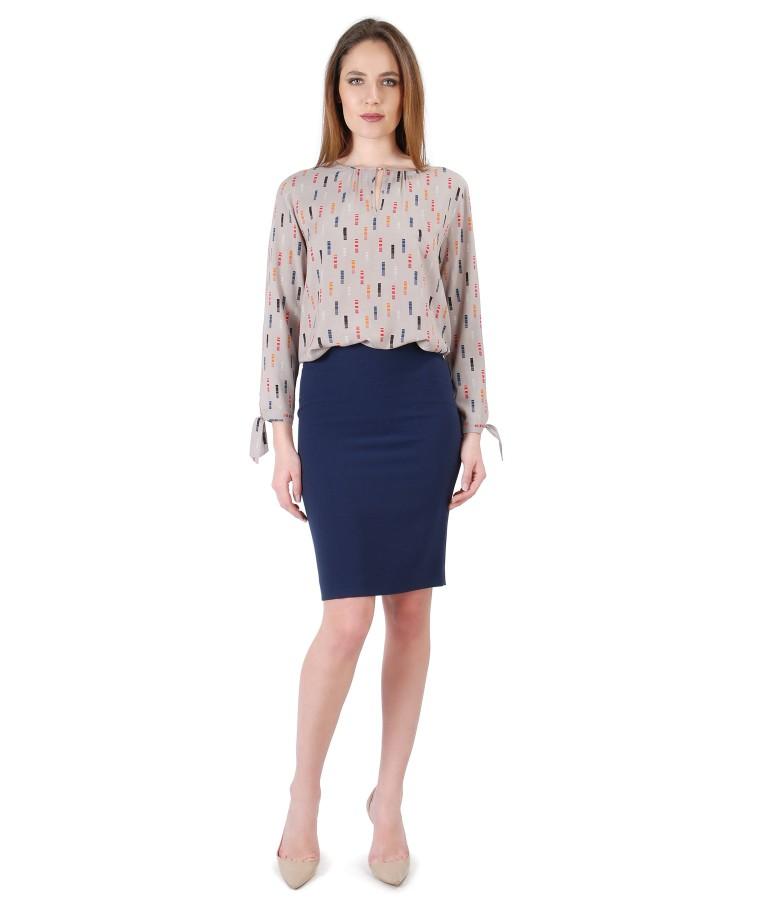 Bluza din vascoza cu maneci lungi si fusta conica