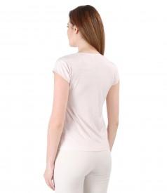 Bluza din jerse elastic cu efect lucios