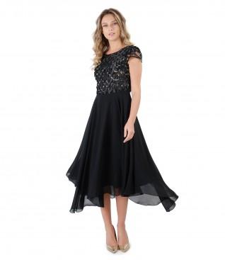 Rochie de seara cu corset din dantela cu petale