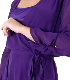 Rochie din voal cu furou din saten si aplicatie de cristale pe maneca
