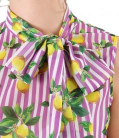 Bluza din voal imprimat cu guler gen esarfa