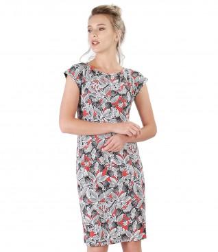 Rochie midi din jerse elastic imprimat in relief