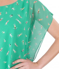 Rochie fluture din voal imprimat