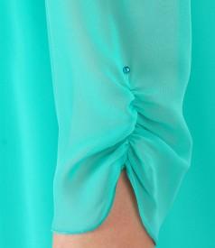 Rochie lejera din voal si cu aplicatie de cristale
