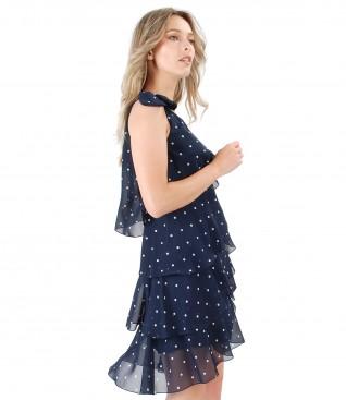 Rochie eleganta cu volane din voal imprimat cu picouri si aplicatie de perle Swarovski