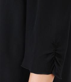 Rochie din viscoza cu funda cu aplicatie de cristale