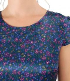 Rochie din matase imprimata cu motive florale