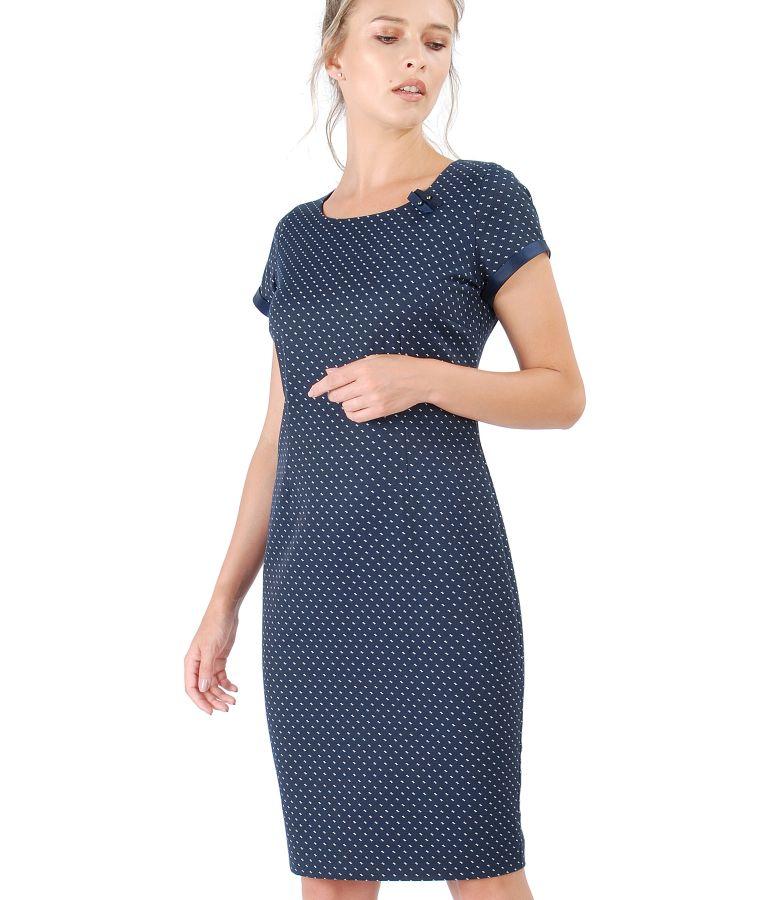 Rochie eleganta cu bumbac elastic aplicatie de perle Swarovski