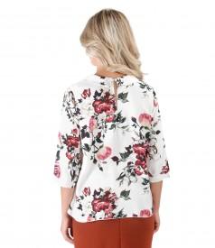Bluza din viscoza imprimata cu trandafiri